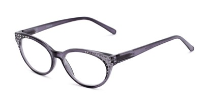 Angle of The Astrid in Clear Black, Women's Cat Eye Reading Glasses