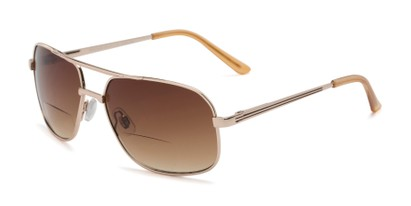 Angle of The Axel Bifocal Reading Sunglasses in Gold with Amber, Women's and Men's Aviator Reading Sunglasses