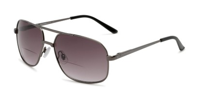 Angle of The Axel Bifocal Reading Sunglasses in Grey with Smoke, Women's and Men's Aviator Reading Sunglasses