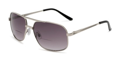 Angle of The Axel Bifocal Reading Sunglasses in Silver with Smoke, Women's and Men's Aviator Reading Sunglasses
