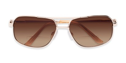 Folded of The Axel Bifocal Reading Sunglasses in Gold with Amber