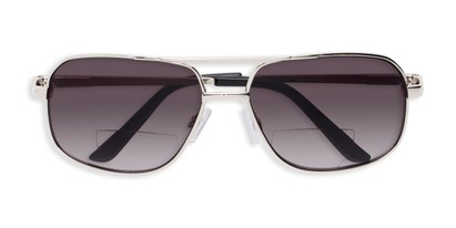 Folded of The Axel Bifocal Reading Sunglasses in Silver with Smoke