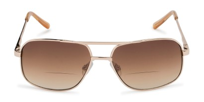 Front of The Axel Bifocal Reading Sunglasses in Gold with Amber