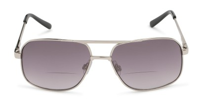 Front of The Axel Bifocal Reading Sunglasses in Silver with Smoke