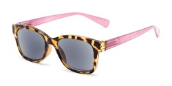 Angle of The Azalea Reading Sunglasses in Tortoise/Pink with Smoke, Women's Retro Square Reading Sunglasses