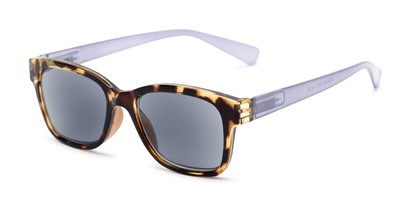 Angle of The Azalea Reading Sunglasses in Tortoise/Purple with Smoke, Women's Retro Square Reading Sunglasses
