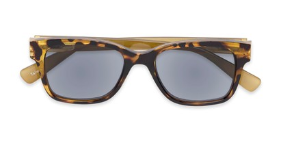 Folded of The Azalea Reading Sunglasses in Tortoise/Green with Smoke