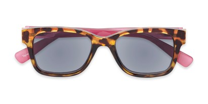 Folded of The Azalea Reading Sunglasses in Tortoise/Pink with Smoke