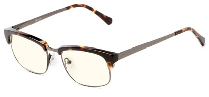 Angle of The Dunn Blue Light Blocking Reader in Brown Tortoise, Women's and Men's Browline Reading Glasses