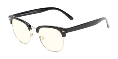 Angle of The Barley Unmagnified Computer Glasses in Black/Silver with Light Yellow, Women's and Men's Browline Computer Glasses