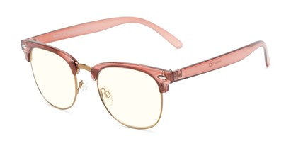 Angle of The Barley Unmagnified Computer Glasses in Pink/Gold with Light Yellow, Women's and Men's Browline Computer Glasses