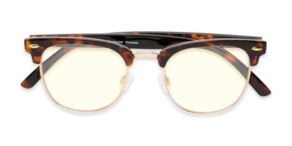 Folded of The Barley Unmagnified Computer Glasses in Tortoise/Gold with Light Yellow