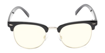 Front of The Barley Unmagnified Computer Glasses in Black/Silver with Light Yellow