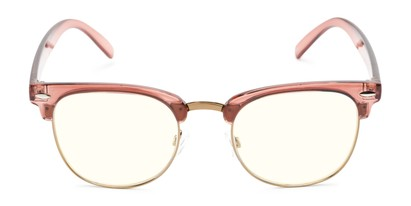 Front of The Barley Unmagnified Computer Glasses in Pink/Gold with Light Yellow