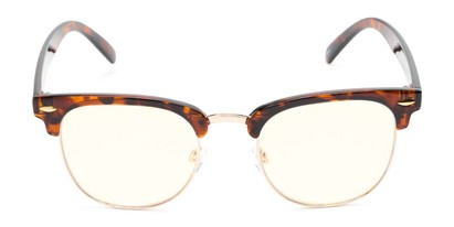 Front of The Barley Unmagnified Computer Glasses in Tortoise/Gold with Light Yellow