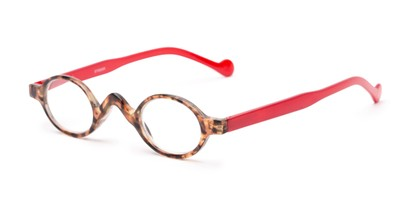 Angle of The Basil in Tortoise/Red, Women's and Men's Oval Reading Glasses