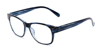 Angle of The Bates in Black/Blue Stripes, Women's and Men's Retro Square Reading Glasses