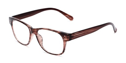 Angle of The Bates in Brown/Clear Stripes, Women's and Men's Retro Square Reading Glasses