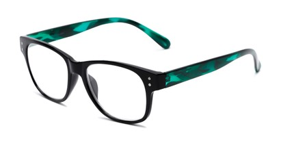 Angle of The Bates in Black/Green, Women's and Men's Retro Square Reading Glasses