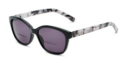 Angle of The Beachy Bifocal Reading Sunglasses  in Black/Grey Tortoise with Smoke, Women's Cat Eye Reading Sunglasses