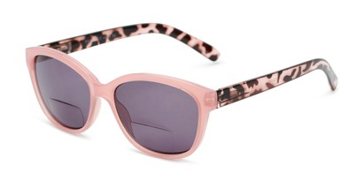 Angle of The Beachy Bifocal Reading Sunglasses  in Pink/Tortoise with Smoke, Women's Cat Eye Reading Sunglasses