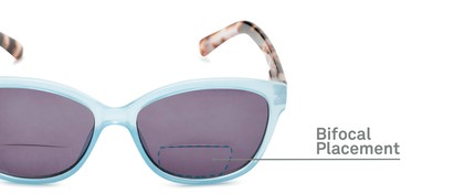 Detail of The Beachy Bifocal Reading Sunglasses  in Light Blue/Clear Tortoise with Smoke