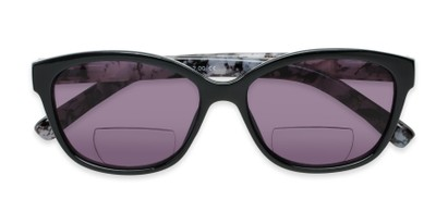 Folded of The Beachy Bifocal Reading Sunglasses  in Black/Grey Tortoise with Smoke