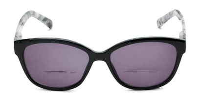 Front of The Beachy Bifocal Reading Sunglasses  in Black/Grey Tortoise with Smoke