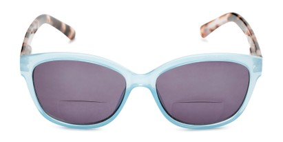 Front of The Beachy Bifocal Reading Sunglasses  in Light Blue/Clear Tortoise with Smoke