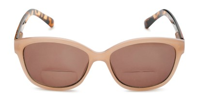 Front of The Beachy Bifocal Reading Sunglasses  in Tan/Tortoise with Smoke