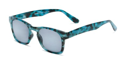 Angle of The Beacon Reading Sunglasses in Blue Tortoise with Smoke, Women's and Men's Retro Square Reading Sunglasses