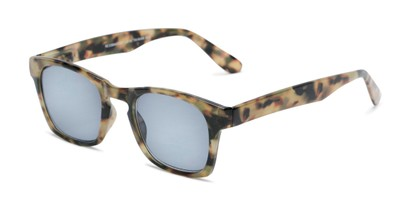 Angle of The Beacon Reading Sunglasses in Brown Tortoise with Smoke, Women's and Men's Retro Square Reading Sunglasses