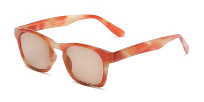 Angle of The Beacon Reading Sunglasses in Orange/White Stripes with Amber, Women's and Men's Retro Square Reading Sunglasses
