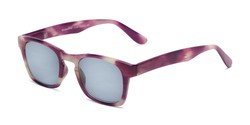 Angle of The Beacon Reading Sunglasses in Purple/White Stripes with Smoke, Women's and Men's Retro Square Reading Sunglasses