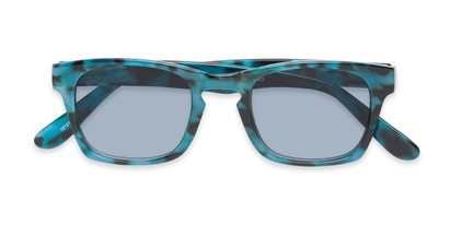 Folded of The Beacon Reading Sunglasses in Blue Tortoise with Smoke