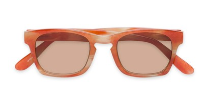 Folded of The Beacon Reading Sunglasses in Orange/White Stripes with Amber