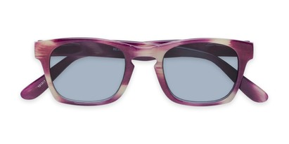 Folded of The Beacon Reading Sunglasses in Purple/White Stripes with Smoke