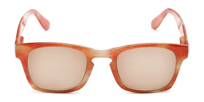 Front of The Beacon Reading Sunglasses in Orange/White Stripes with Amber