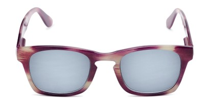 Front of The Beacon Reading Sunglasses in Purple/White Stripes with Smoke