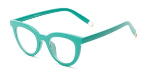 Angle of The Beatrix in Green, Women's Cat Eye Reading Glasses