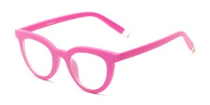 Angle of The Beatrix in Matte Pink, Women's Cat Eye Reading Glasses