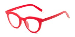 Angle of The Beatrix in Matte Red, Women's Cat Eye Reading Glasses