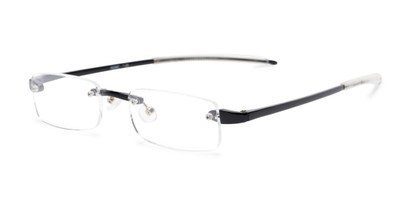 Angle of The Beau in Black, Women's and Men's Rectangle Reading Glasses