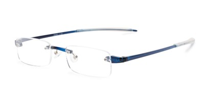 Angle of The Beau in Blue, Women's and Men's Rectangle Reading Glasses