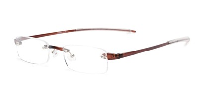 Angle of The Beau in Brown, Women's and Men's Rectangle Reading Glasses