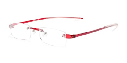 Angle of The Beau in Red, Women's and Men's Rectangle Reading Glasses
