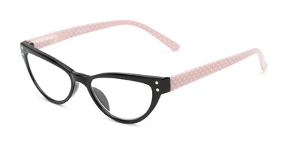 Angle of The Belinda in Black/Pink, Women's Cat Eye Reading Glasses