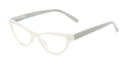 Angle of The Belinda in White/Grey, Women's Cat Eye Reading Glasses