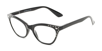 Angle of The Bellamy in Glossy Black, Women's Cat Eye Reading Glasses