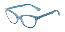 Angle of The Bellamy in Blue, Women's Cat Eye Reading Glasses